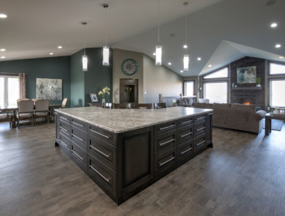 Custom kitchen cabinets by Hiebert Cabinets in Bow Island, Alberta.. Kitchen | Dusted | Oak | Islands | Flat Panel | Rustic