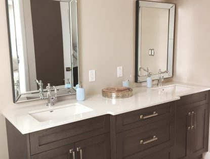 Custom vanity with double sinks by Hiebert Cabinets in Bow Island, Alberta.. Bathroom | Hickory | Contemporary | Flat Panel