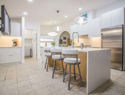 White Natural Maple Accent on Island. Kitchen | Painted | Islands