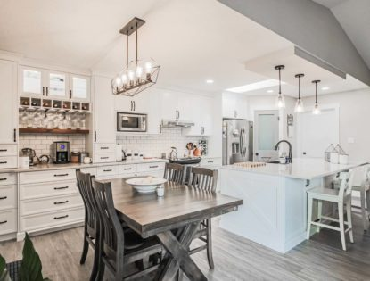 Walnut Painted White Kitchen. Kitchen | Walnut | Painted | Flat Panel | Rustic | Contemporary
