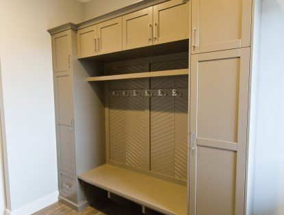 Custom coat & boot cubby Modern by Hiebert Cabinets in Bow Island, Alberta.. Lockers | Painted | Flat Panel