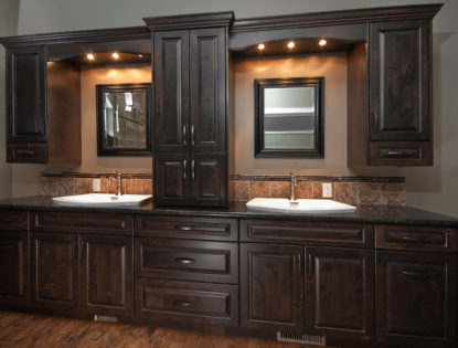 Custom bathroom vanity cabinets by Hiebert Cabinets in Bow Island, Alberta.. Bathroom | Alder | Raised Panel | Traditional | Rustic
