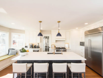 Bright kitchen with flat panel, painted cabinets and an island. Kitchen | Painted | Flat Panel | Islands