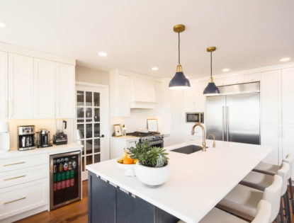 Bright kitchen with painted cabinets and an island. Kitchen | Painted | Flat Panel | Islands