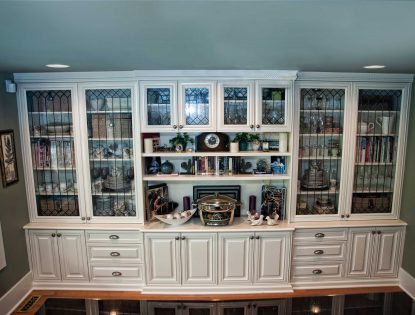 Glass and floating shelves. Hutch | Painted | Mitered Doors | Raised Panel | Traditional