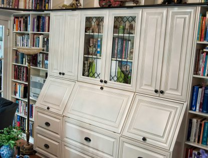Cabinetry featuring open & closed shelving. Other | Painted | Mitered Doors | Raised Panel | Traditional