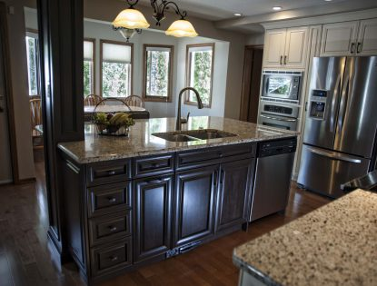 Two toned. Kitchen | Hard Maple | Painted | Raised Panel | Mitered Doors | Traditional | Islands