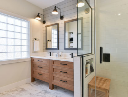 Oak bathroom cabinets with flat panels. Bathroom | Oak | Flat Panel