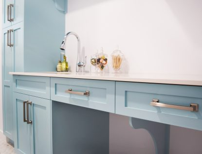 Bright cabinetry with brushed nickel handles. Laundry | Painted | Flat Panel | Contemporary