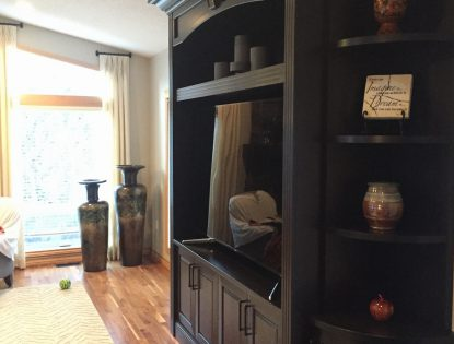 Custom cherry finish media hutch. Hutch | Cherry | Traditional | Raised Panel | Mitered Doors