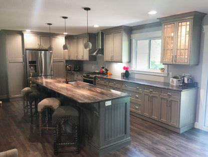 Painted and dusted custom kitchen cabinets with laminate countertops.. Kitchen | Dusted | Painted | Contemporary | Islands | Mitered Doors | Flat Panel