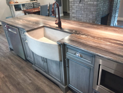 Kitchen island featuring custom under mount apron sink.. Kitchen | Dusted | Painted | Contemporary | Islands | Mitered Doors | Flat Panel