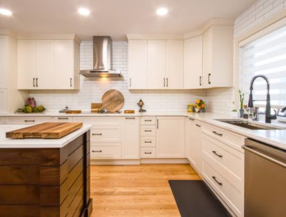 Walnut island with flat panel cabinetry in Medicine Hat, Alberta. Kitchen | Walnut | Painted | Islands | Flat Panel
