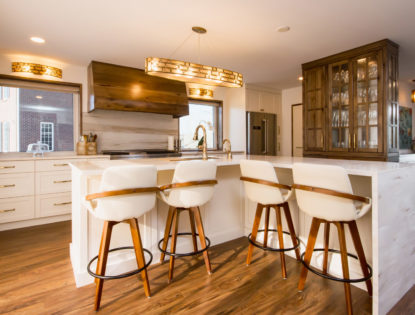 Kitchen island with hickory painted, flat-panel cabinets in Medicine Hat, Alberta. Kitchen | Hickory | Painted | Islands | Flat Panel