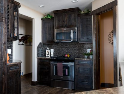 Distressed kitchen cabinetry. Kitchen | Alder | Flat Panel