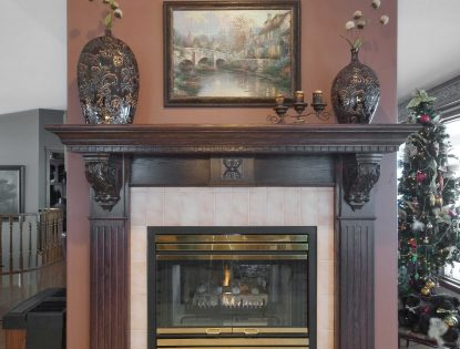 Custom corbels. Detailed mantle. Fireplace | Oak | Traditional