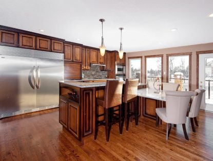 Stepped down island. Kitchen | Dusted | Alder | Raised Panel | Traditional | Islands