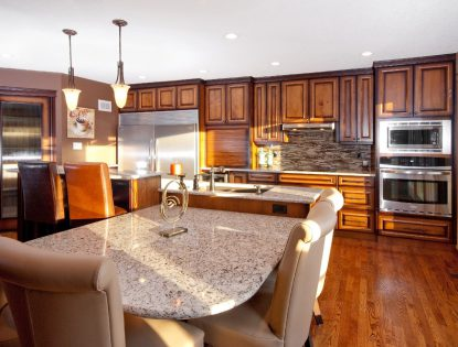 Appliance garage. Kitchen | Alder | Dusted | Raised Panel | Traditional | Islands