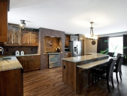 Stepped down eating. Kitchen | Alder | Raised Panel | Rustic | Islands