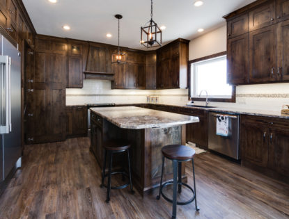 Hickory wood finished kitchen cabinets and island. Kitchen | Hickory | Barn wood | Islands