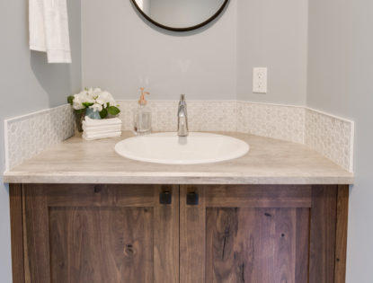 Custom bathroom vanity by Hiebert Cabinets in Bow Island, Alberta.. Bathroom